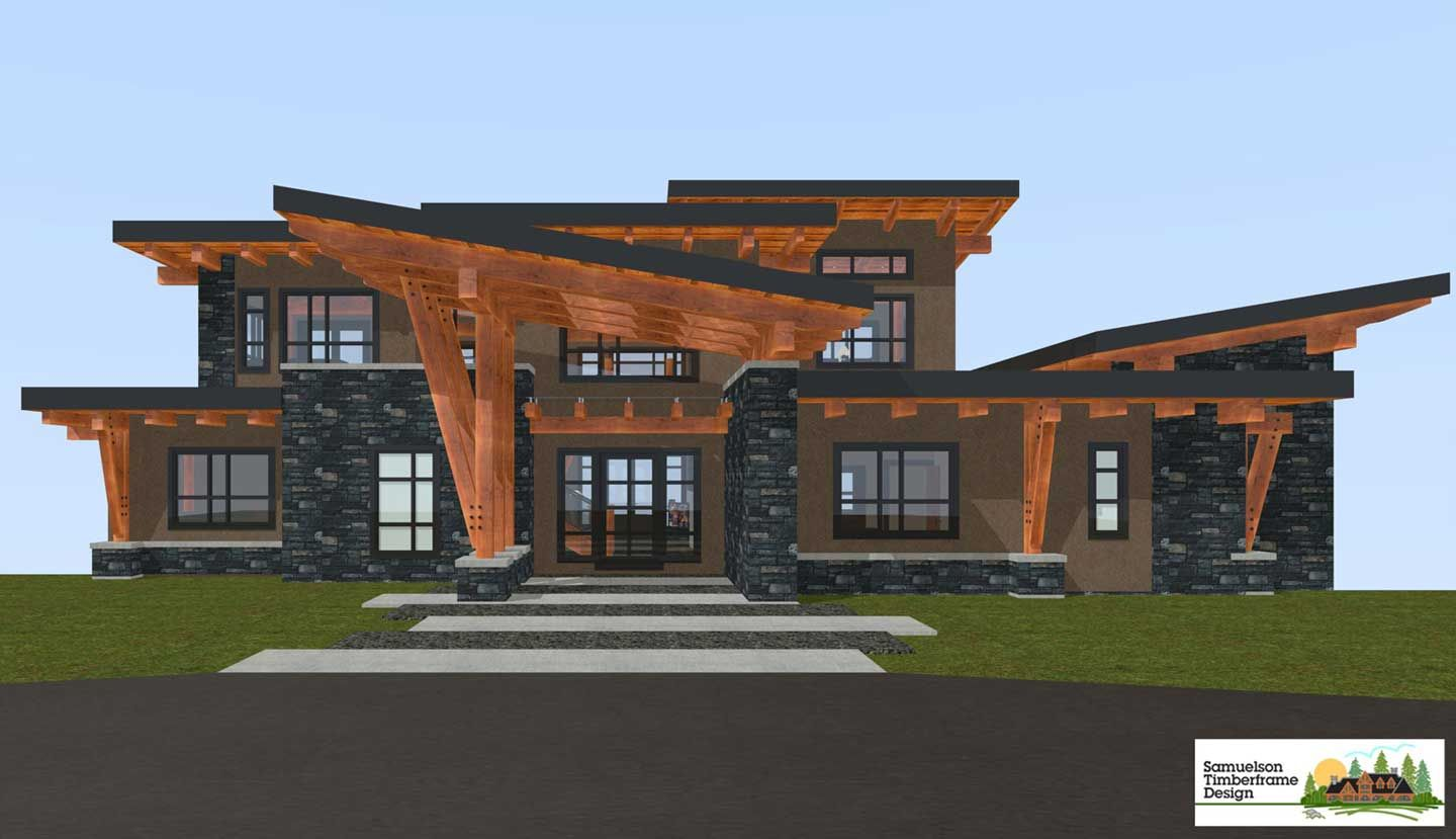 West coast contemporary style architecture samuelson for Contemporary timber frame home plans