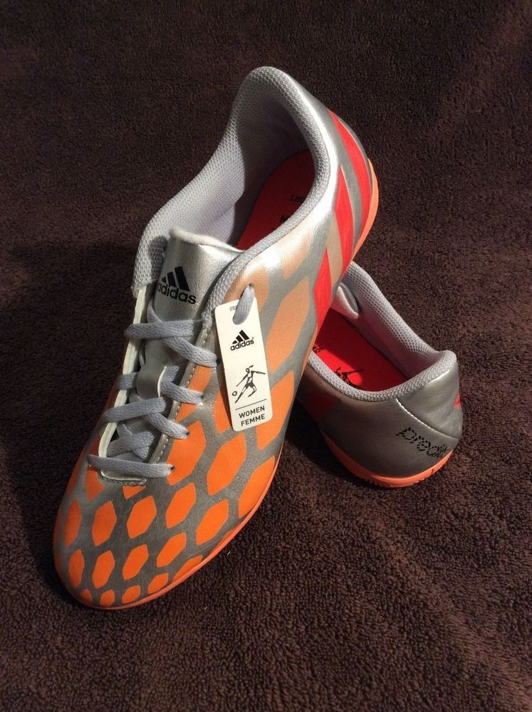 24193441090 Adidas Predito Instinct Indoor Soccer Shoes Women s Size 8 - Silver Red  Orange  Adidas  LowTop