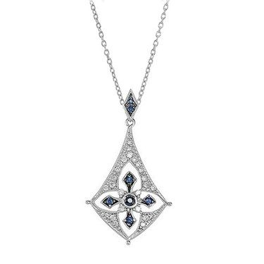 Love this!!! This Blue Sapphire and Diamond Pendant is perfect for Something Blue!