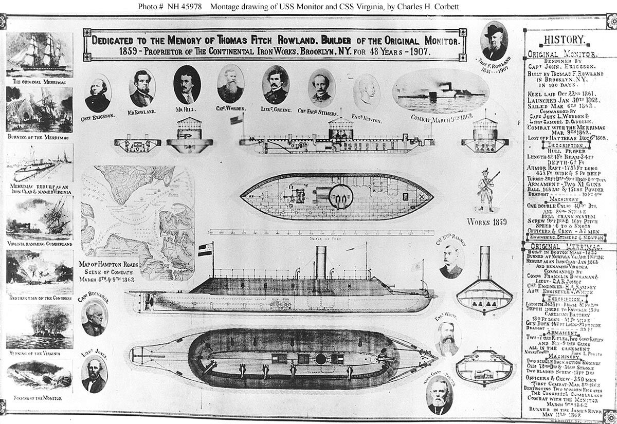 montage drawing of uss monitor and css virginia  by