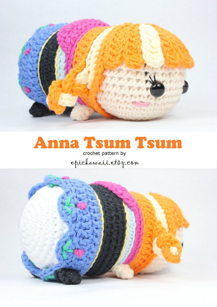 PATTERN: Anna Tsum Tsum Crochet Amigurumi Doll   Anna, Ganchillo y ...