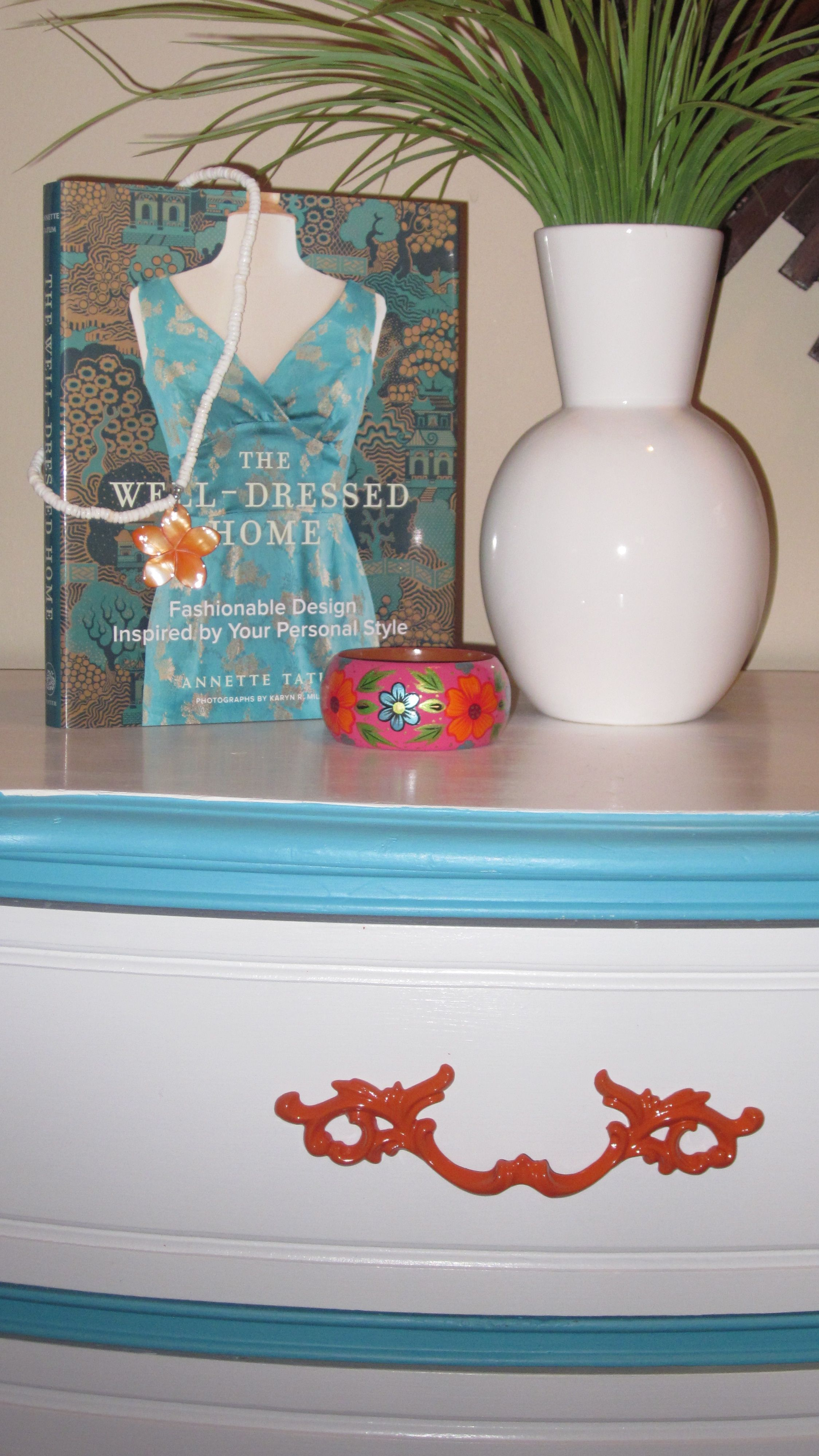 Dresser Painted In A White Turquoise And Orange Color Scheme So Bright Crisp Clean My New Favorite Colors