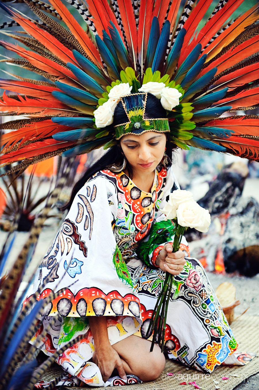 A Mexican Bride In Traditional Feather Headdress Via
