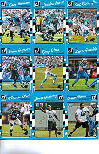 2016 Donruss Football Carolina Panthers Team Set of 11 Cards: Cam Newton(#39), Jonathan Stewart(#40), Ted Ginn Jr.(#41), Kelvin Benjamin(#42), Greg Olsen(#43), Devin Funchess(#44), Luke Kuechly(#45), Thomas Davis(#46), Kevin Greene(#48), James Bradberry(#319), Vernon Butler(#344)
