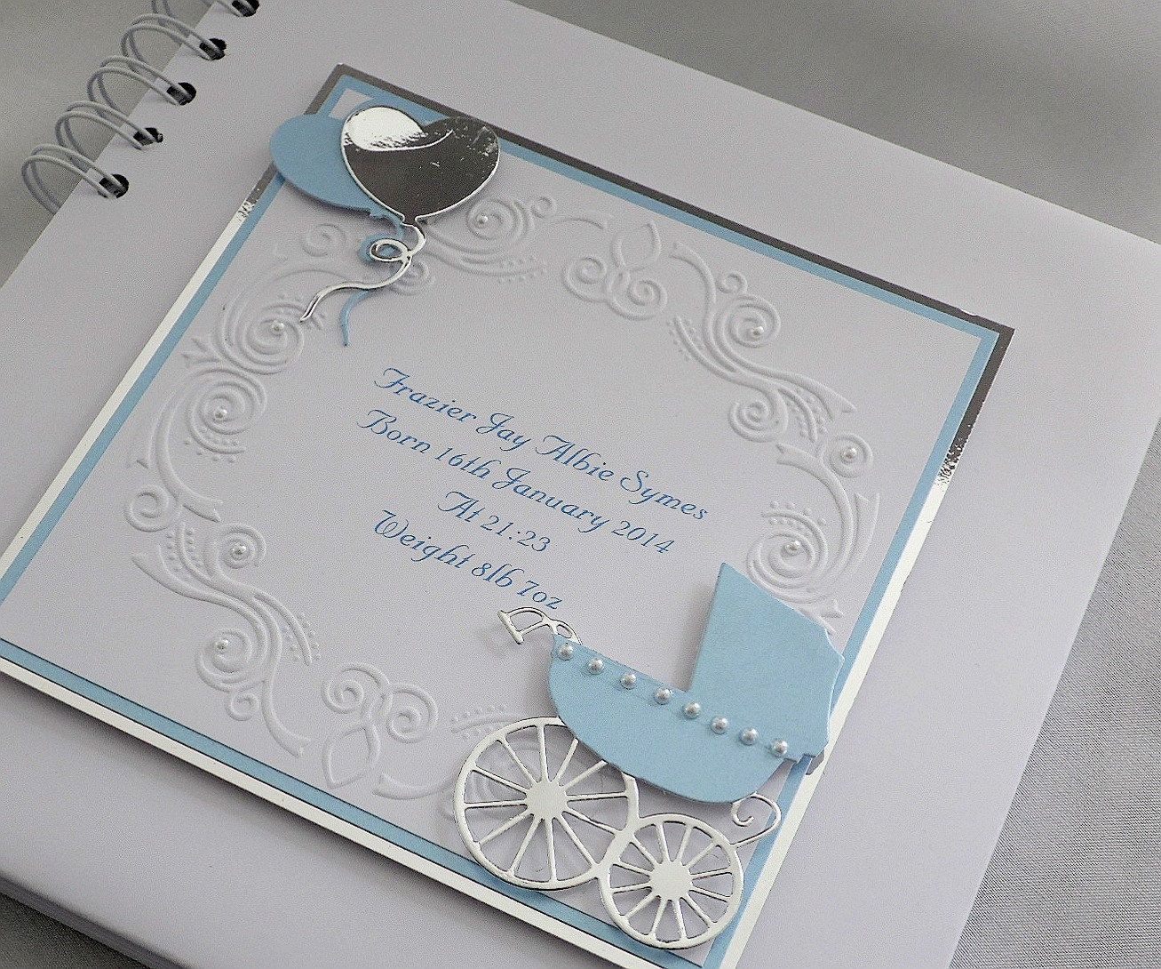Personalised Baby Boy Christening,Naming Day Guest Book,8 x 8 Pram Design Boxed