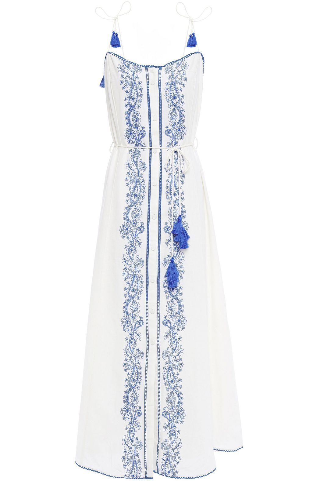 White Azid Embroidered Cotton And Linen Blend Maxi Dress Sale Up To 70 Off The Outnet Tigerlily Dresses Maxi Dress Sale Maxi Dress