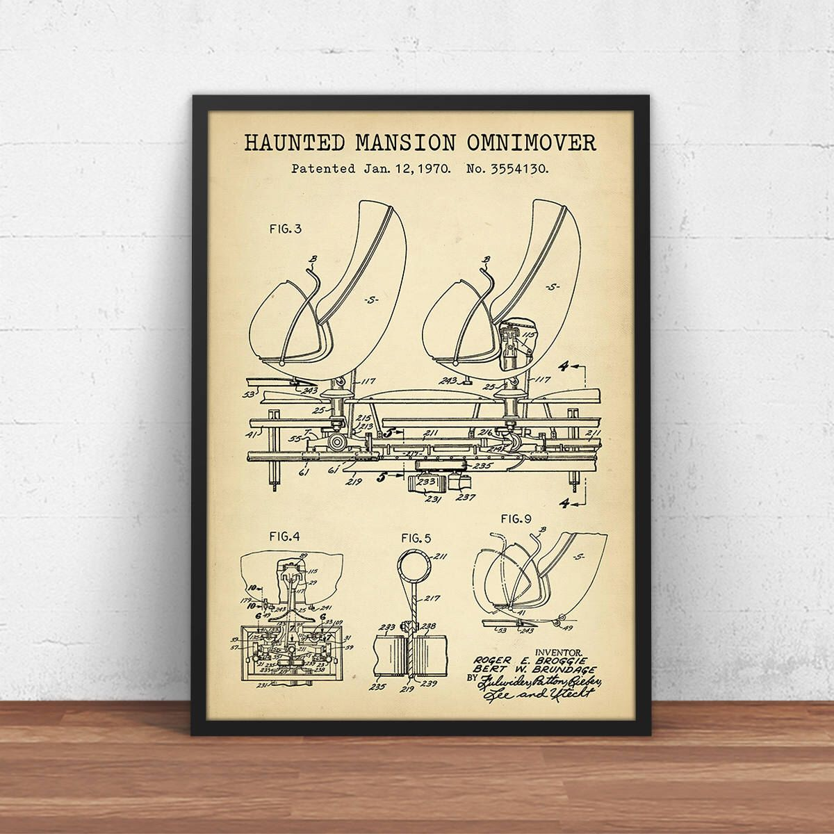 Haunted Mansion Ride Omnimover Patent Print Disneyland Art Digital Download Disney World Blueprint Art Kids Room Decor Children s Gift