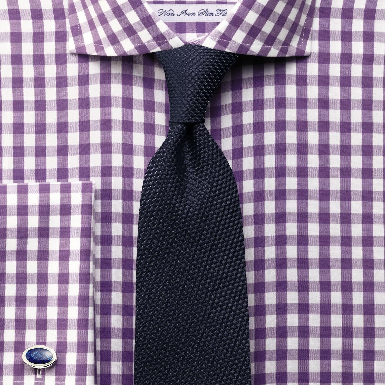 Purple Gingham Non Iron Spread Collar Slim Fit Shirt