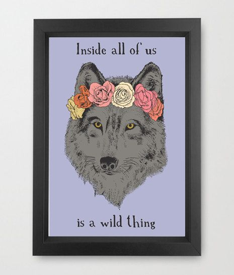 Wolf in a flower crown, digital art, illustration,  #wolf, #flower #crown #motivational #quote #inspirational #art #etsy #etsyshop #original #art