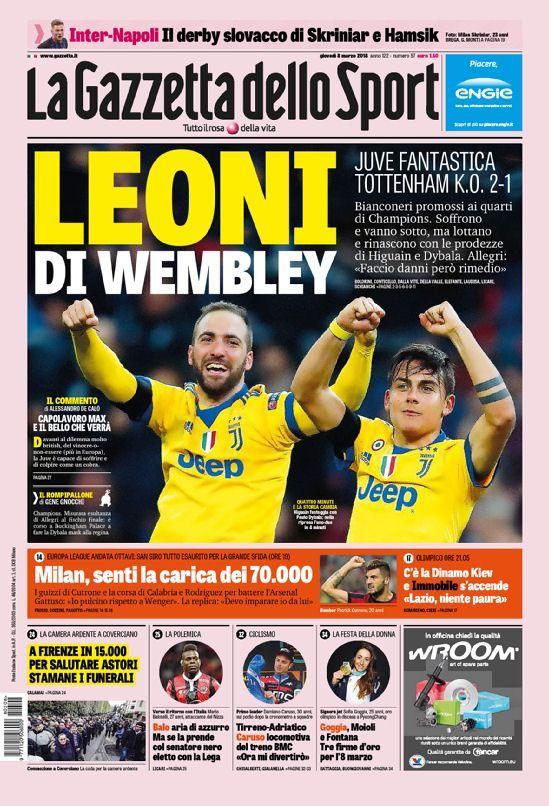 La prima pagina della Gazzetta dello Sport del 08/03/2018