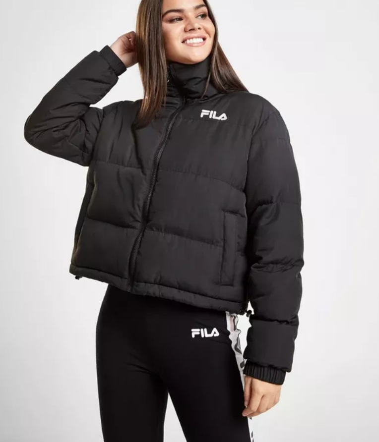 1ac418448 Fila Logo Crop Puffer Jacket in 2019 | Fashion | Puffer jackets ...