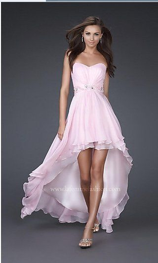 A Line Strapless Pink Blue White Chiffon Prom Dress Beaded Hi Low Beach Wedding Reception