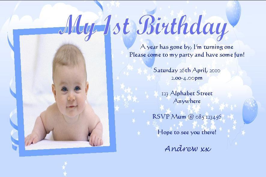 sample 1st birthday invitations for