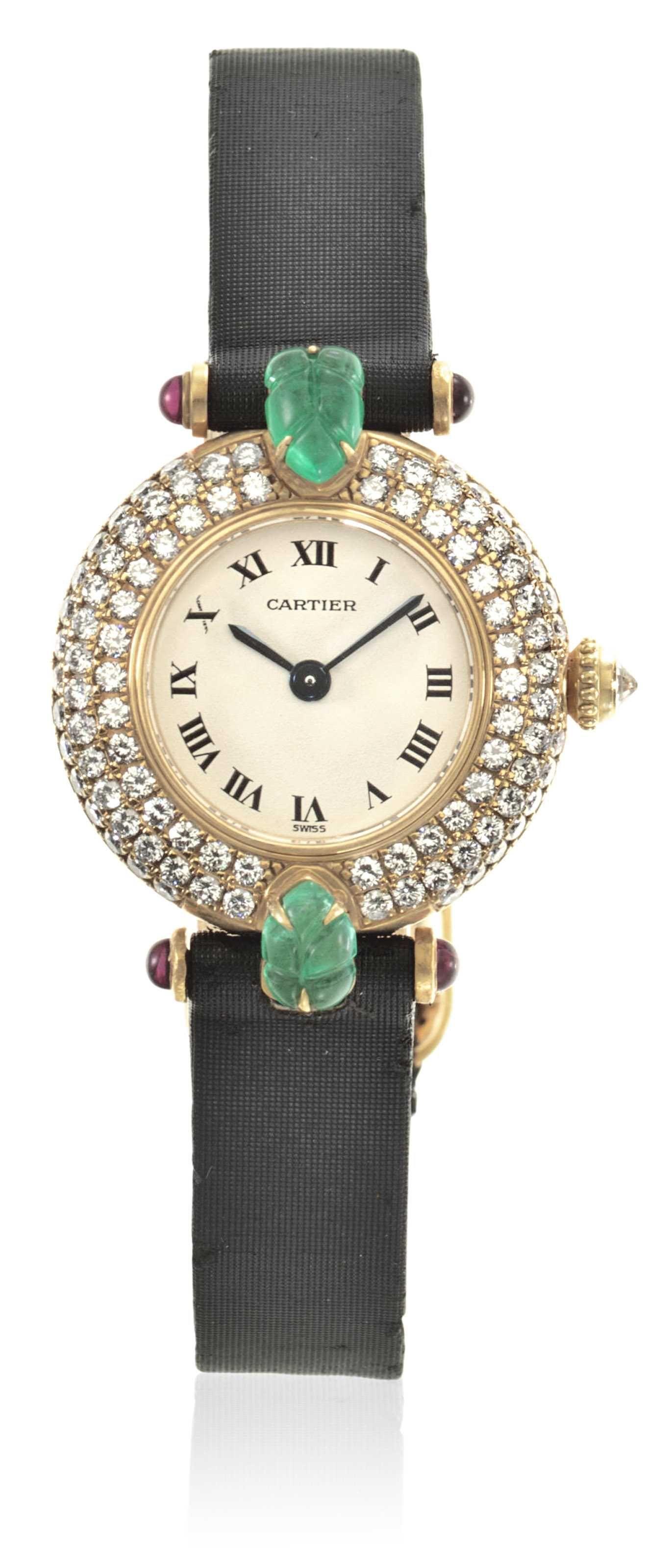 GEM-SET AND DIAMOND WRISTWATCH BY CARTIER Christie's Christie's Jewels online