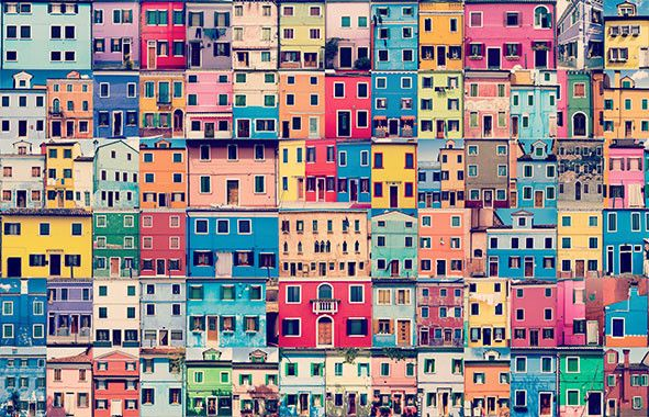 Wallpaper Rock Scissors - Painted Houses - KEM025W