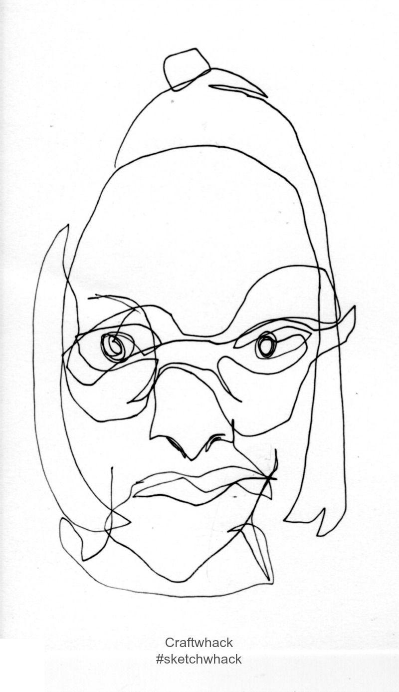Contour Line Drawing Self Portrait : Blind contour self portrait part of the sketchwhack