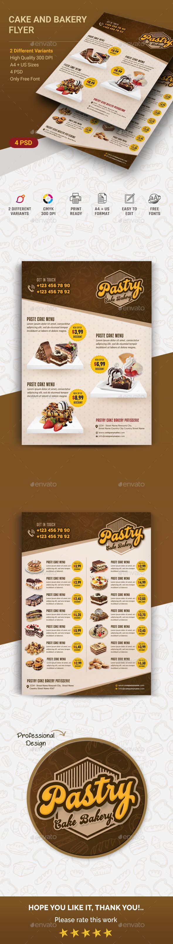 Cake And Bakery Flyer Template PSD
