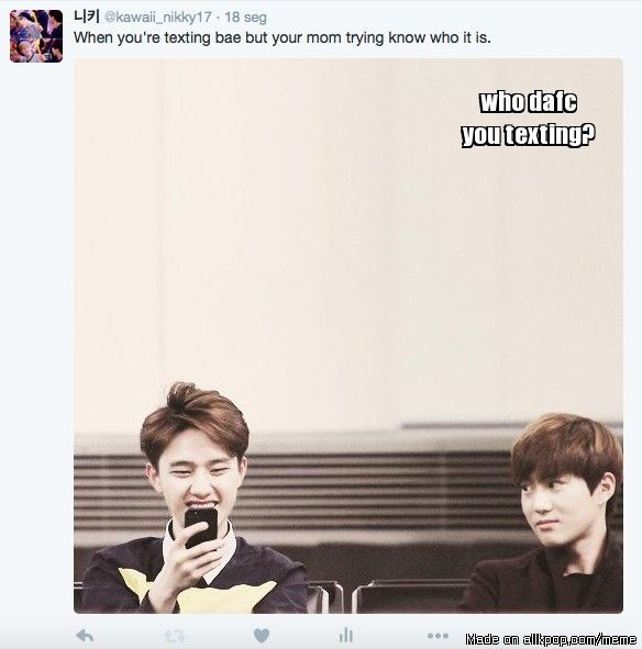 texting but Suho mom wants to see... | allkpop Meme Center ...