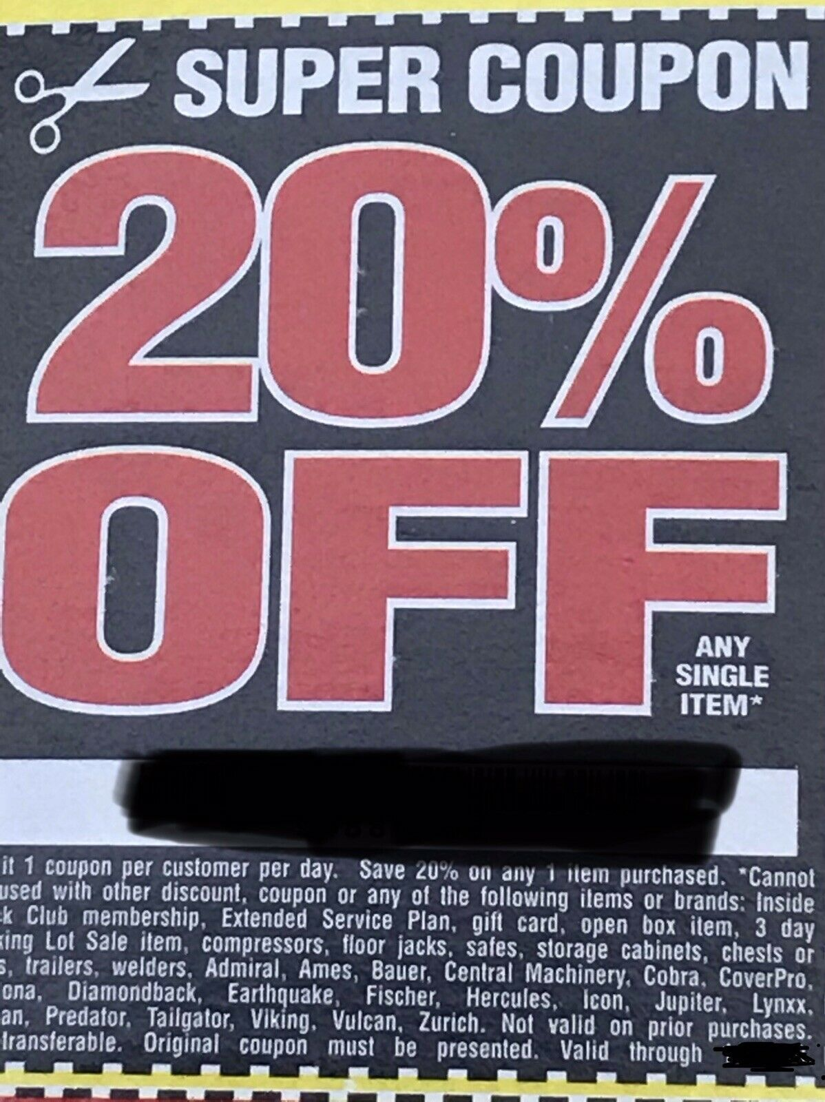 Harbor Freight COUPON for 20 Off Any Single Item harbor