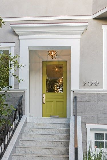 Lime Green Front Door Matched With Grey Exterior, Moravian Star Pendant  Light