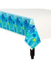 "Cool Sea Table Cover 54in x 102in - Luau Tableware Themes - Luau Theme Party - Theme Parties - Categories - Party City - BOUGHT TWO (2) tableclothes, each 54""x102"" in ""Cool Sea"" design (Note: in the package it looks like the white part is blue)"