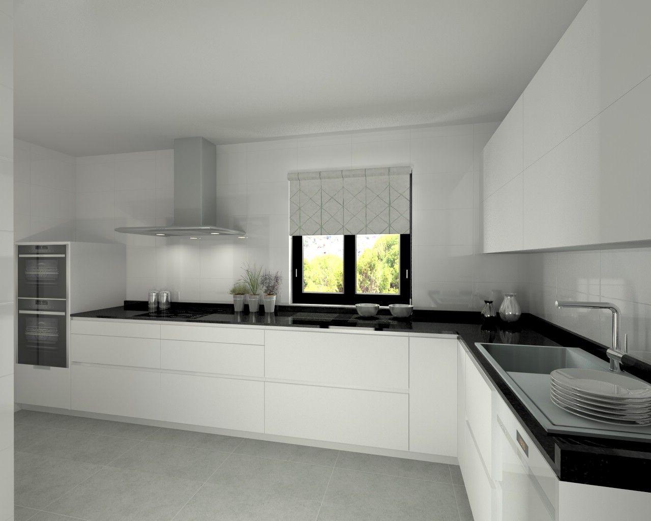 Modelo line l blanco seda encimera granito negro saaa for Encimera de cocina lacada en blanco negro