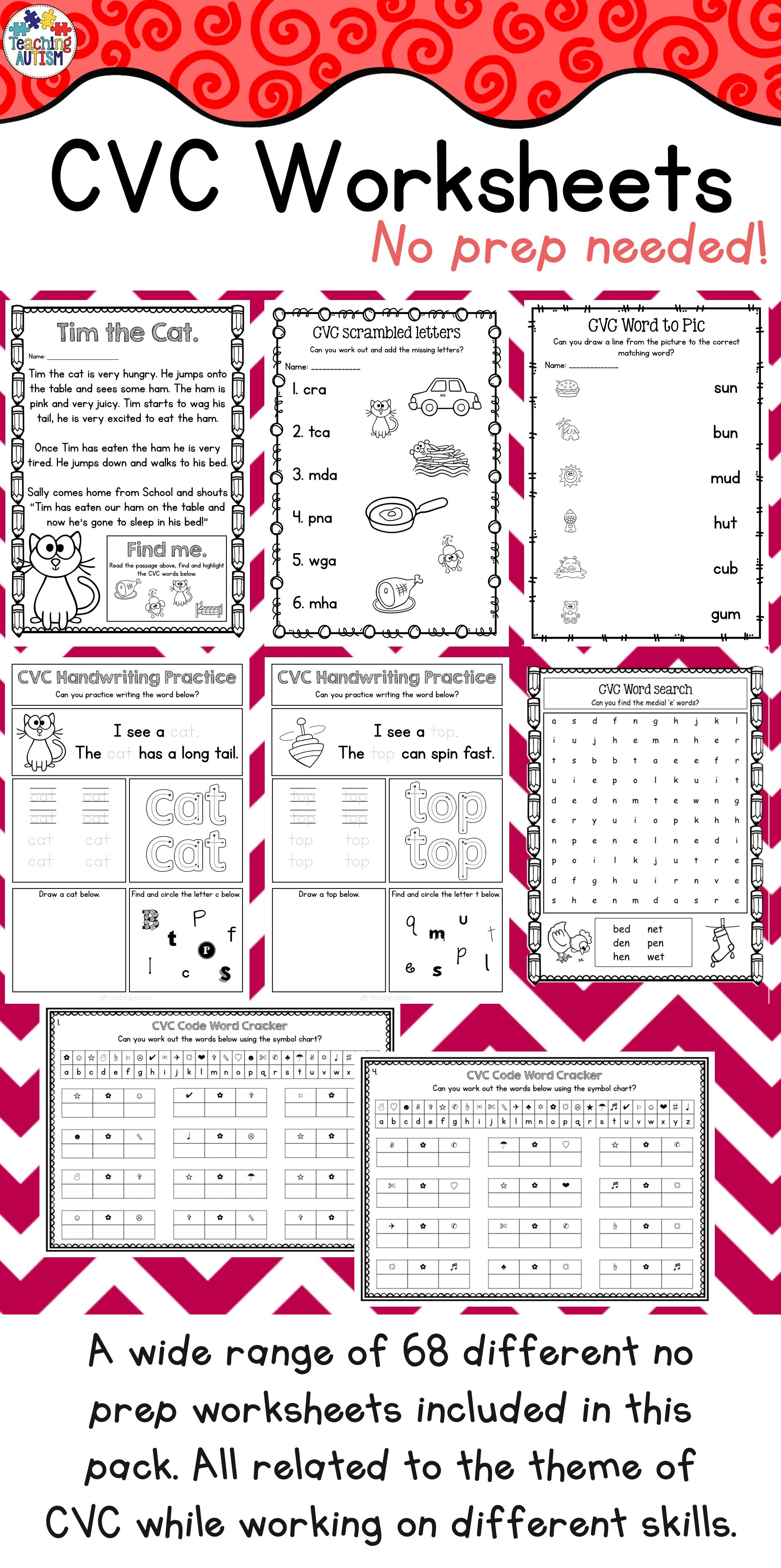 Cvc Worksheet Bundle Printable No Prep