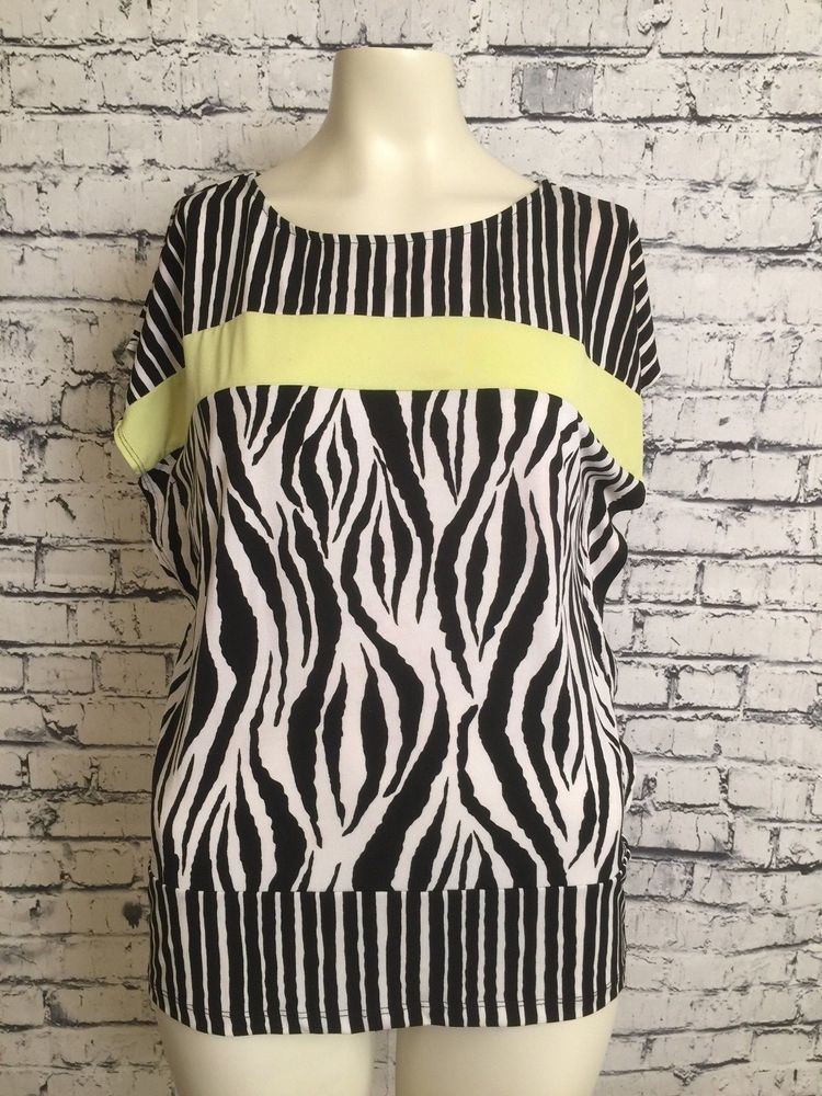 a61806e797f7 Chicos Women 1 Black White Yellow Striped Top Animal Print Short Sleeve  Shirt M  Chicos  Top  Casual