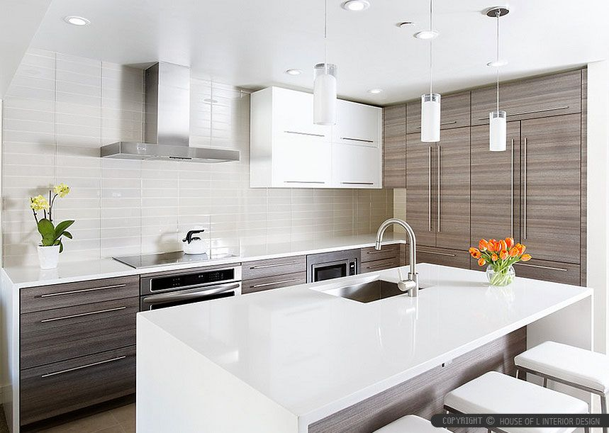 5 White Glass Metal Backsplash Tile Luna Pearl Granite