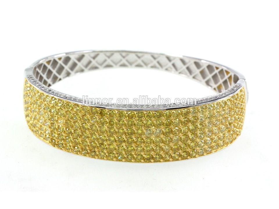 Pave CZ Stone Gold Bangle Zircon Jewelry Diamond Wavy Simple Gold ...