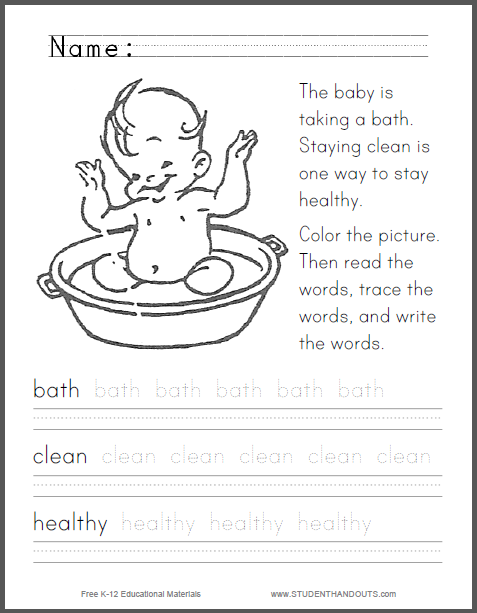Staying Clean and Healthy Primary Worksheet - Coloring sheet with ...