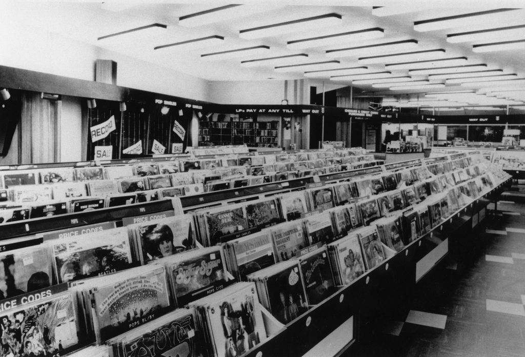 A record shop in Oxford Street, London, 1960s.