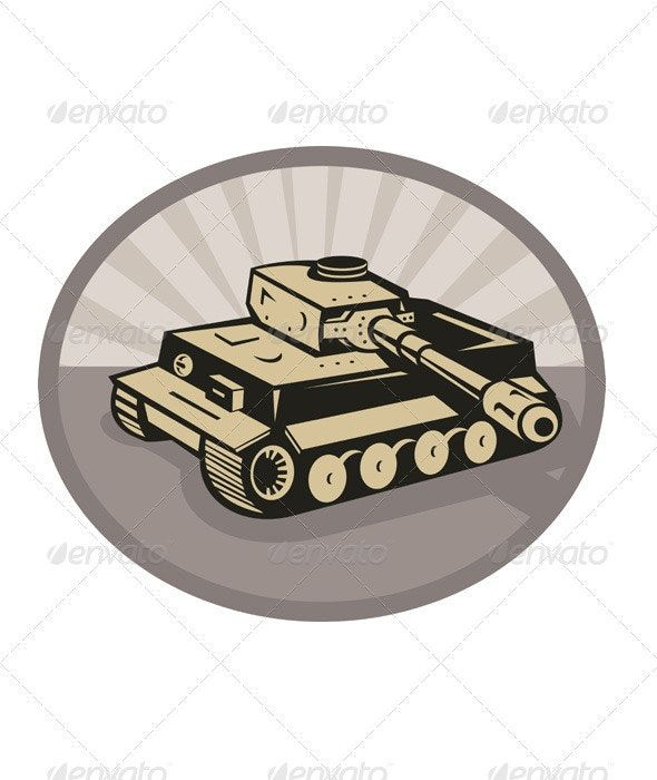 German Panzer Battle Tank Retro