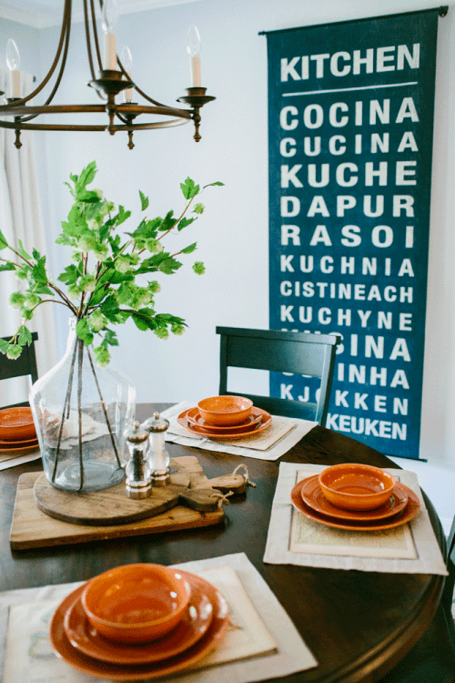 Pretty Table Setting And Flower Vase With Vintage Wood Cutting Boards Underneath HGTV