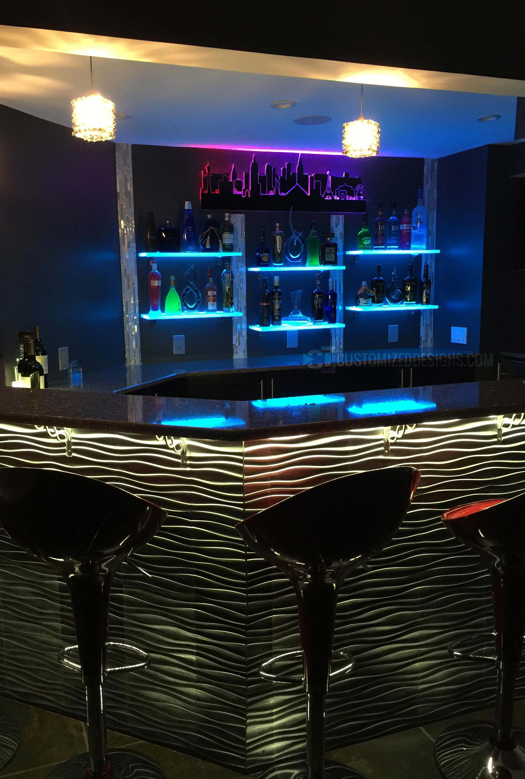 Led Lighted Shelves Bar Shelves Bars For Home Modern Home Bar