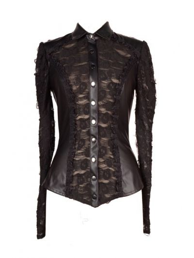Black Leather Gothic Punk Blouse for Women