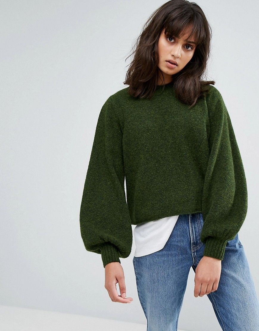 Weekday Balloon Sleeve Knit - Green Sweater Jacket, Jumper, Skinny Jeans,  Fashion Online