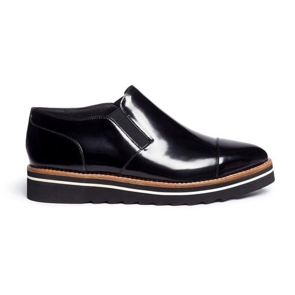 976d7fe0f6d Vince  Alona  patent leather slip-on Oxfords (36635 ALL) ❤ liked on  Polyvore featuring shoes