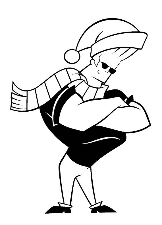 Johnny Bravo Wearing A Santa Hat Coloring Pages For Kids Fig Printable Johnny Bravo Coloring Pages For K Johnny Bravo Coloring Pages Coloring Pages For Kids