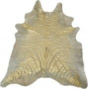 Zebra gold metallic cowhide rug