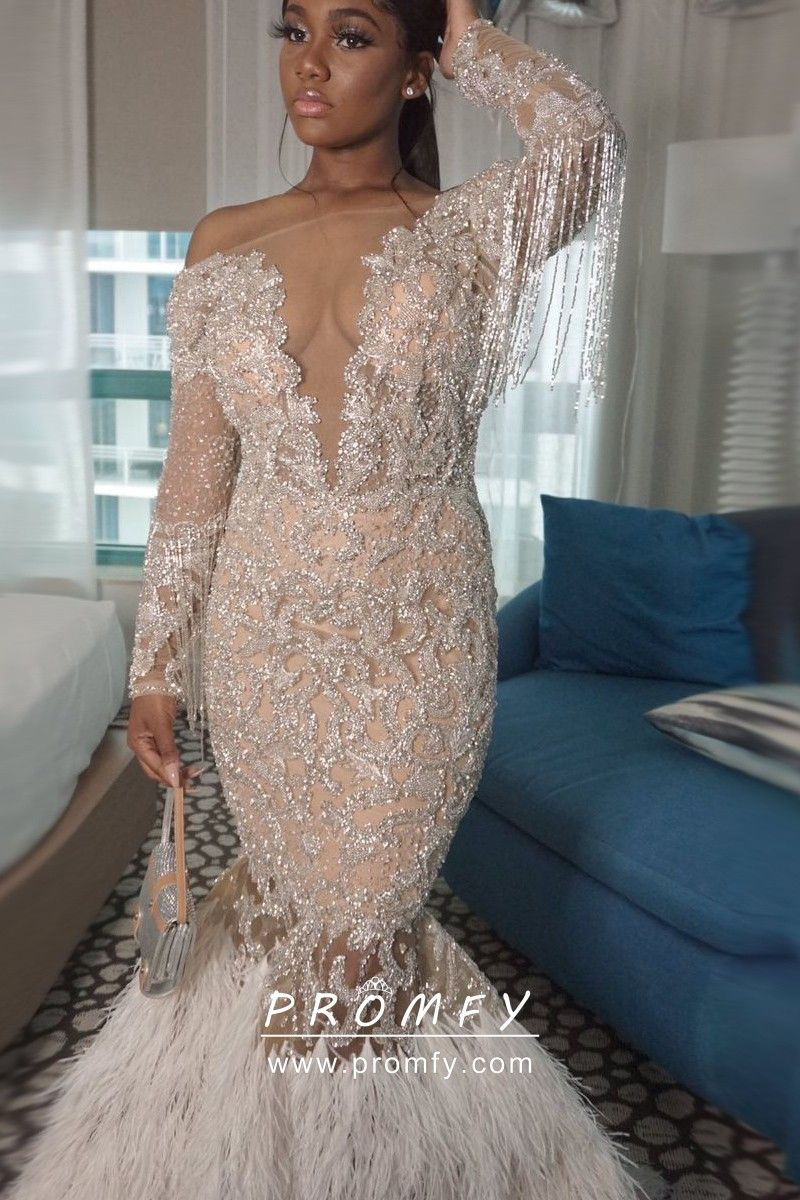 Luxury Giltter Tassel Feather Long Sleeve Prom Gown Prom Girl Dresses Black Girl Prom Dresses Prom Dress Inspiration [ 1200 x 800 Pixel ]