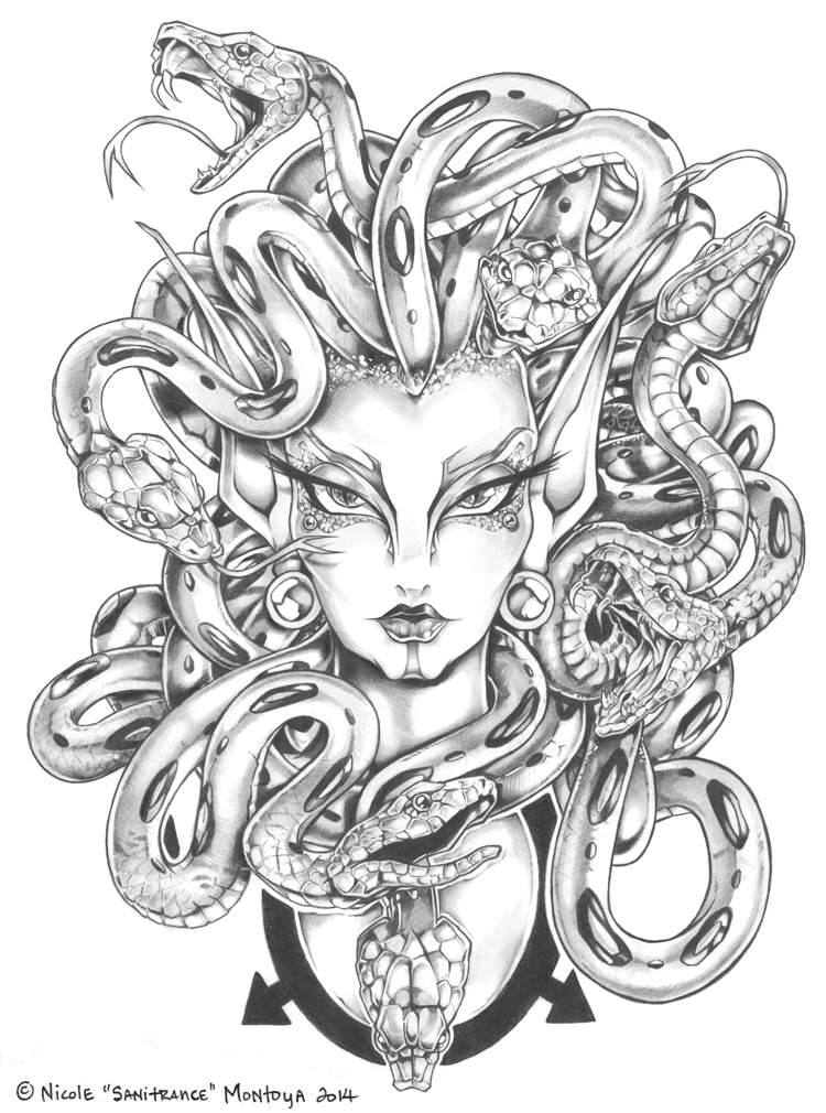 Medusa drawing tumblr google search tattoo lover for Medusa coloring page