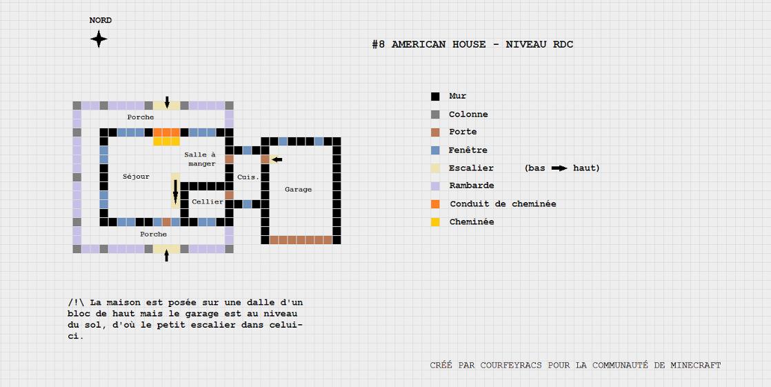 plan d 39 une maison style american house minecraft. Black Bedroom Furniture Sets. Home Design Ideas