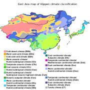Climate Zone Map Of Asia.Koppen Climate Classification East Asia Gardening Zones