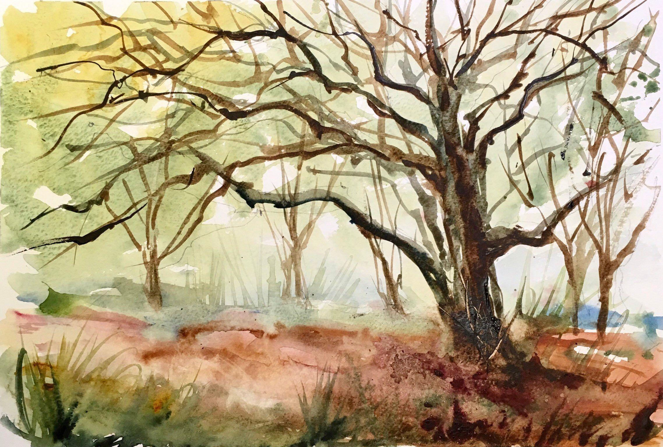 Aquarelle Peinture Originale Arbre En Automne Woodland Fall