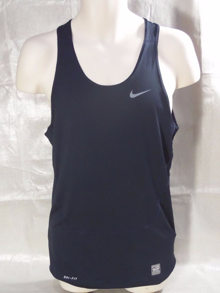 NIKE pro combat PERFORMANCE DRI FIT navy blue compression tank top mens SIZE  XL #Nike