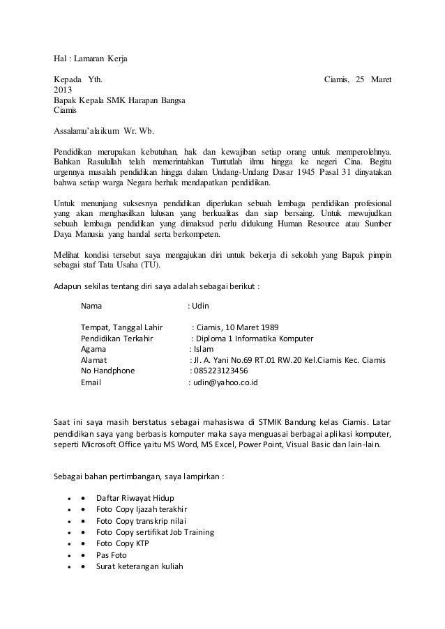 Contoh Surat Lamaran Kerja Tanpa Informasi - ben jobs | Contoh ...