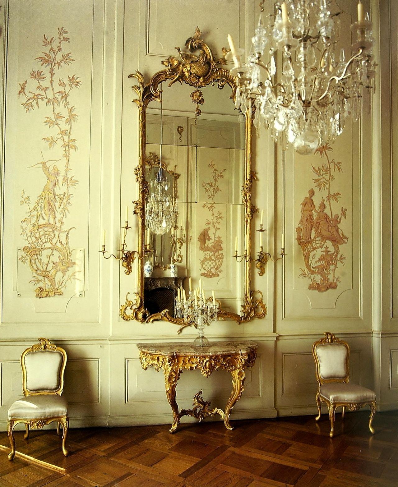 Sanssouci, chinoiserie boiserie and antique mirror | Decor ...
