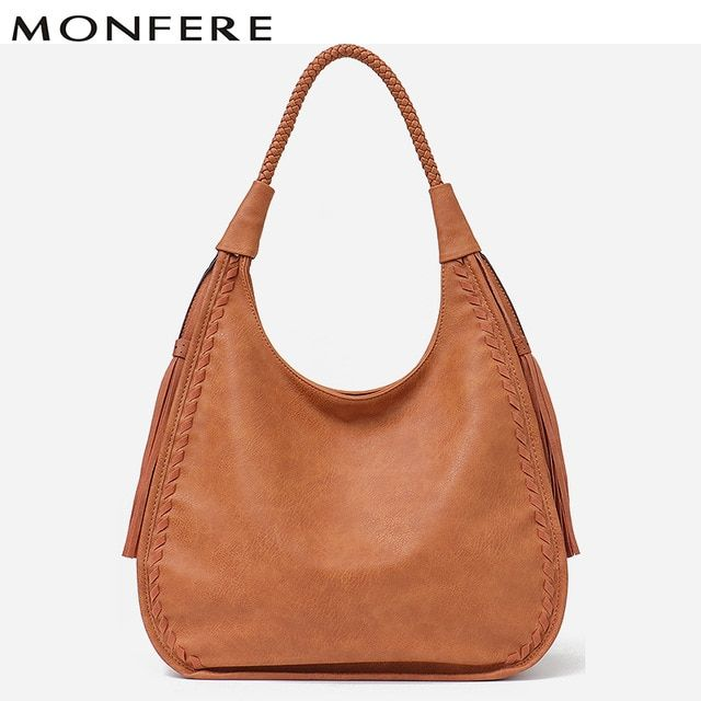 MONFERE Brand Hobo Bag Women Handbags Shoulder Large Female Faux Leather  Tassel Big Totes Ladies High Quality Top-handle Bag New Review ba8f5ed773f18