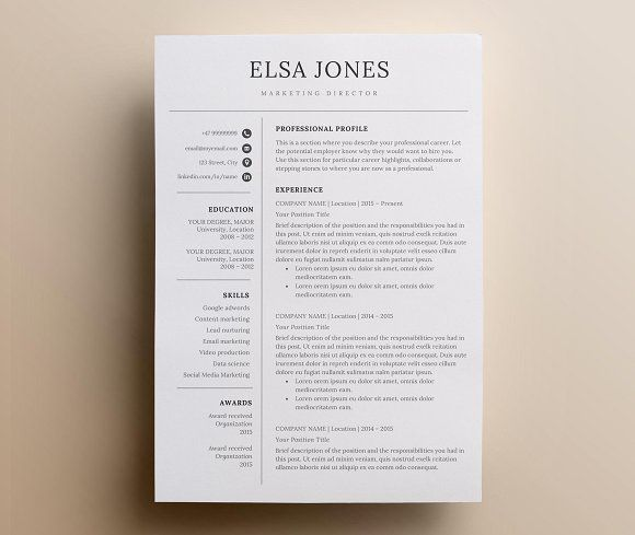 Resume Template  Cv By Nordic Designs On Creativemarket